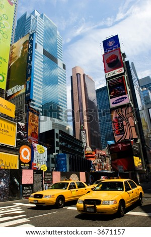 Times Square in summer, New York City - stock photo