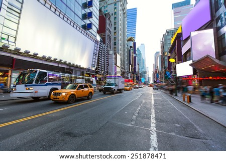 Times Square Manhattan New York all the ads deleted US - stock photo