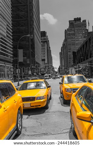 Times Square New York yellow cab taxi daylight US - stock photo