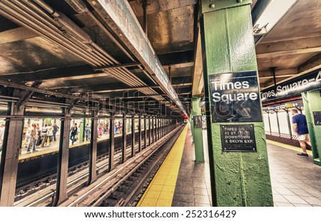 Times Square subway station interior, New York City. - stock photo