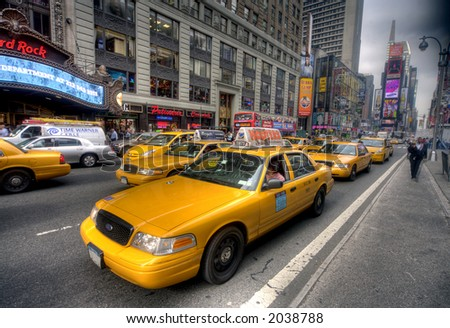 Times Square - Taxi - New York - stock photo