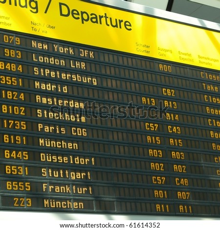 Timetable display screen of arrivals and departures at station or airport