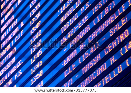 timetable of departures and arrivals - stock photo