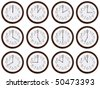 Timezone clock. Clocks showing the time around the world. On white background - stock photo