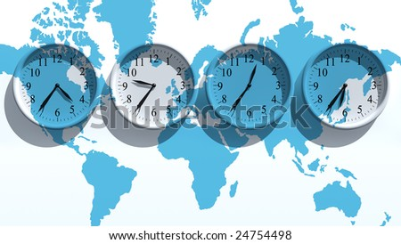 Timezone clocks showing different time - stock photo