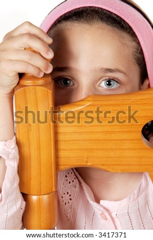 Timid hidden girl a over white background - stock photo