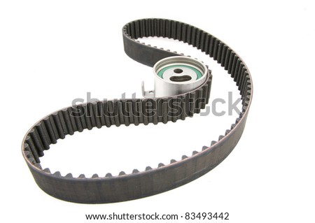 timing belt isolated (with clipping path) tension pulley - stock photo