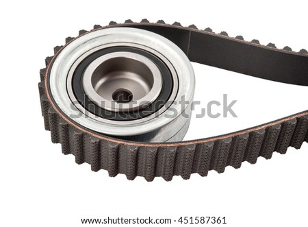 timing belt with rollers on a white background isolated on white background - stock photo