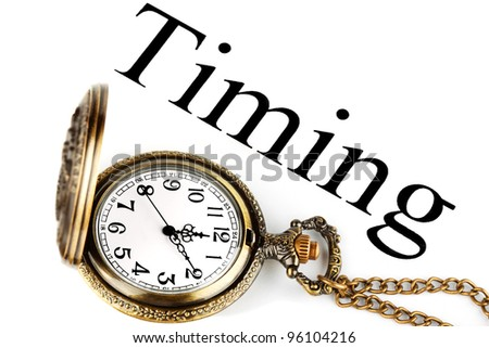 Timing - concept of business. Pocket watch with timing sign on the white background - stock photo