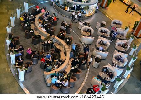 TIMISOARA, ROMANIA - APRIL 6, 2014: Cafe inside the Iulius Mall, Timisoara, Romania, April 6th, 2014 - stock photo