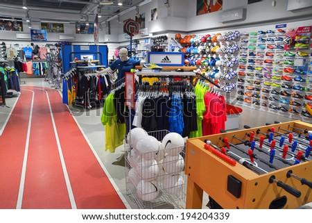 Timisoara, Romania, May 21: sports clothing in InterSport store, Timisoara, Romania. Shot taken on May 21st 2014 - stock photo