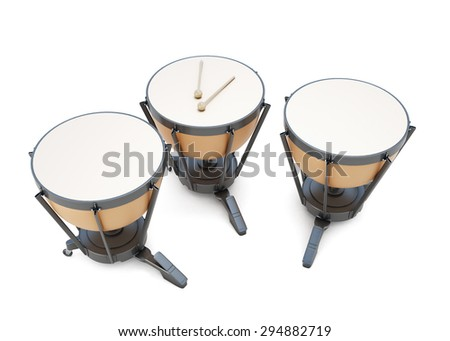Timpani on a white. 3d render image. Music instruments series. - stock photo