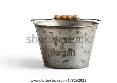 Tin bucket for home and garden on a white background  with clipping path - stock photo