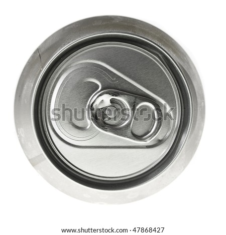 Tin can and easy-open,top view isolated on the white - stock photo