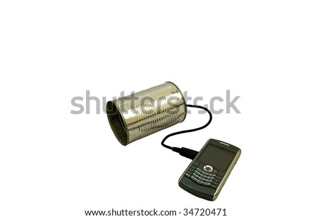 Tin can attached to a modern smart phone isolated on a white background - stock photo