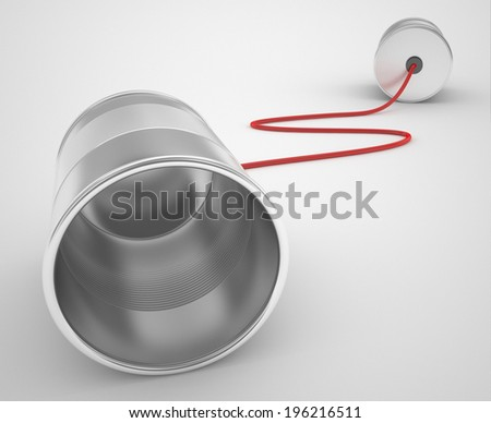 tin can phone with red cable - stock photo