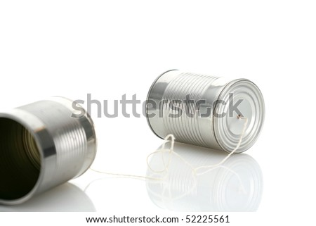 tin can telephone isolated on white - stock photo