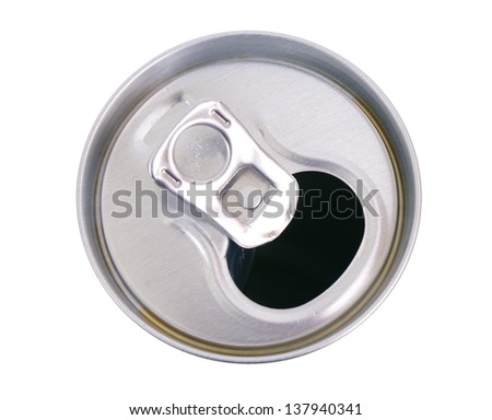 Tin can with a straw - stock photo