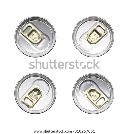 tin can with gold pull ring top view set isolated on white background