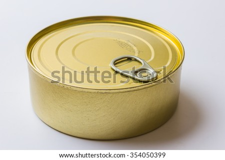 tin can with preserves  on white background - stock photo