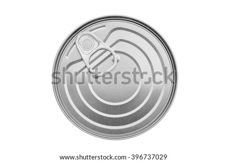 Tin can with pull ring isolated. Isolated metal packaging. Top view photo.