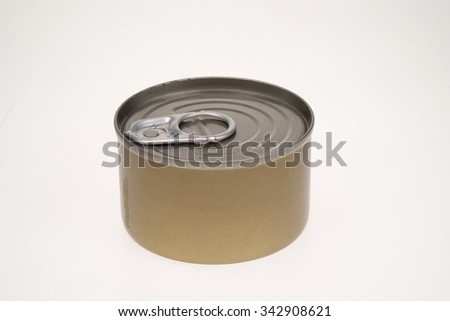 Tin can with pull ring isolated on white - stock photo