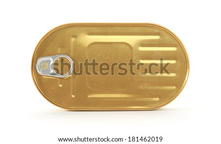 Tin can with pull ring isolated on white top view - stock photo