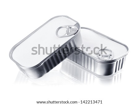tin cans closed isolated over white. Food packaging