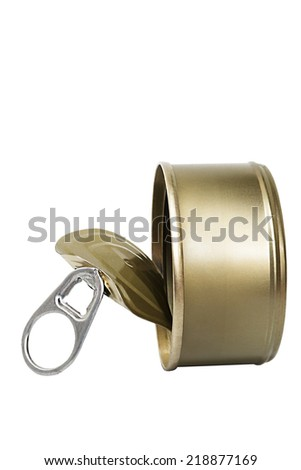 Tin cans gold iron food isolated on white background with clipping path. - stock photo