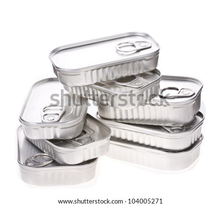 Tin cans isolated on white - stock photo