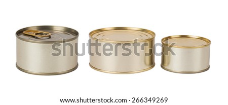 Tin cans isolated on white background - stock photo
