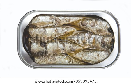 Tin cans of aluminum of different size of sardines, mackerel in olive oil - stock photo