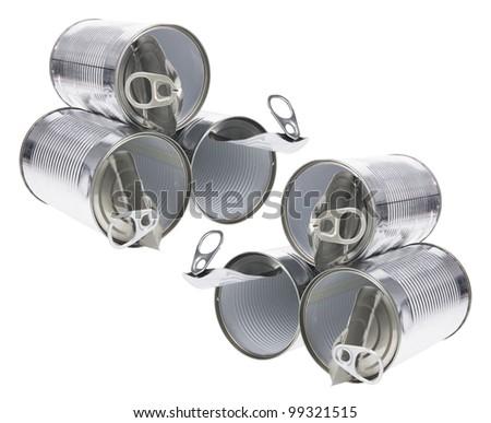 Tin Cans on White Background - stock photo