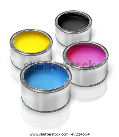 Tin cans with cmyk color paints cyan magenta yellow black - stock photo