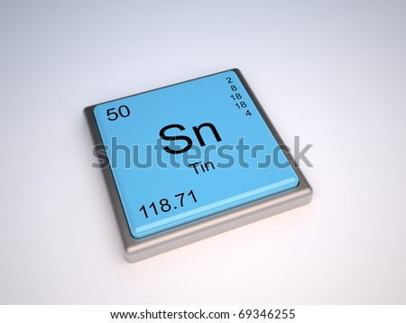 Tin chemical element of the periodic table with symbol Sn - stock photo