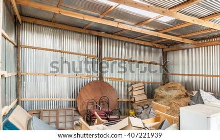 Tin/galvanized sheet warehouse in Maseru, Lesotho.  - stock photo