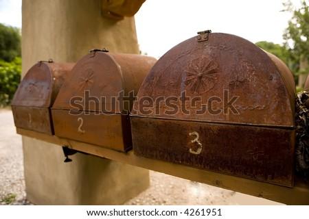 Tin Mailboxes in Southwest - stock photo