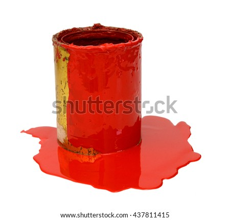 Tin of opened red paint with a brush with green handle on white background - stock photo