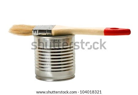 Tin of paint and paint brush Isolated on white background - stock photo