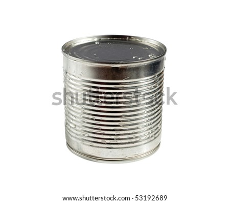 Tin on a white background