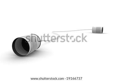 Tin phone isolated on white background - stock photo