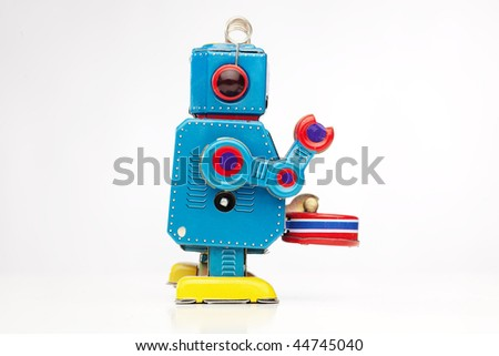 tin robot drummer - stock photo