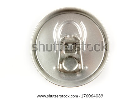 Tin soda can top isolated on white background - stock photo