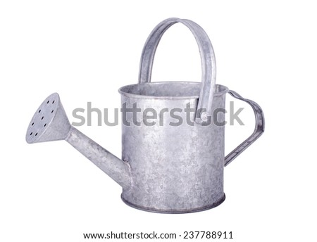 Tin watering can on white background  - stock photo