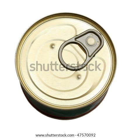 tin with canned goods isolated on white