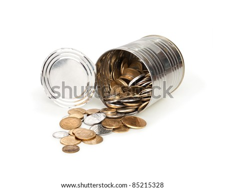tin with coins isolated on white
