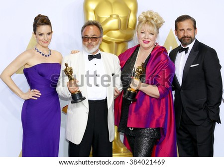 Tina Fey, Steve Carell, Colin Gibson and Lisa Thompson at the 88th Annual Academy Awards - Press Room held at the Loews Hollywood Hotel in Hollywood, USA on February 28, 2016. - stock photo