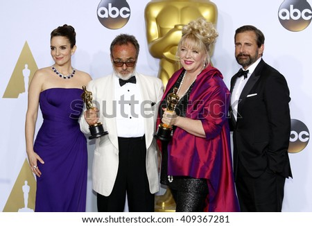 Tina Fey, Steve Carell, Colin Gibson and Lisa Thompson at the 88th Annual Academy Awards - Press Room held at the Loews Hotel in Hollywood, USA on February 28, 2016. - stock photo