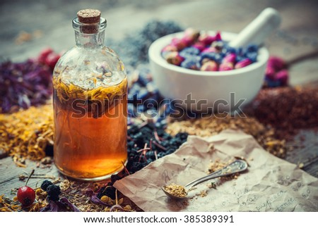 Tincture bottle, mortar of healing herbs and paper of recipes on table. Herbal medicine. - stock photo