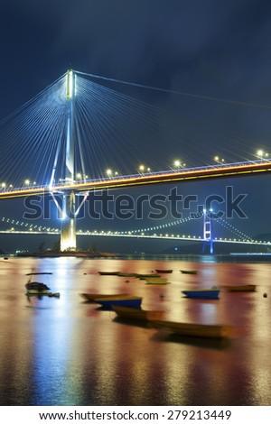 Ting Kau Bridge and Tsing Ma Bridge in Hong Kong - stock photo